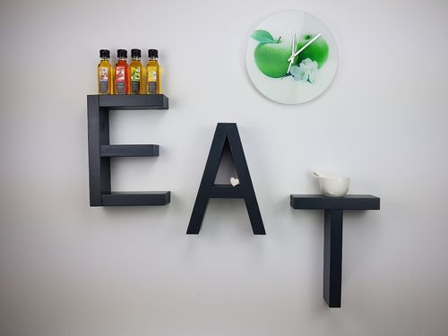 EAT/TEA Buchstaben Set Grau/Anthrazit